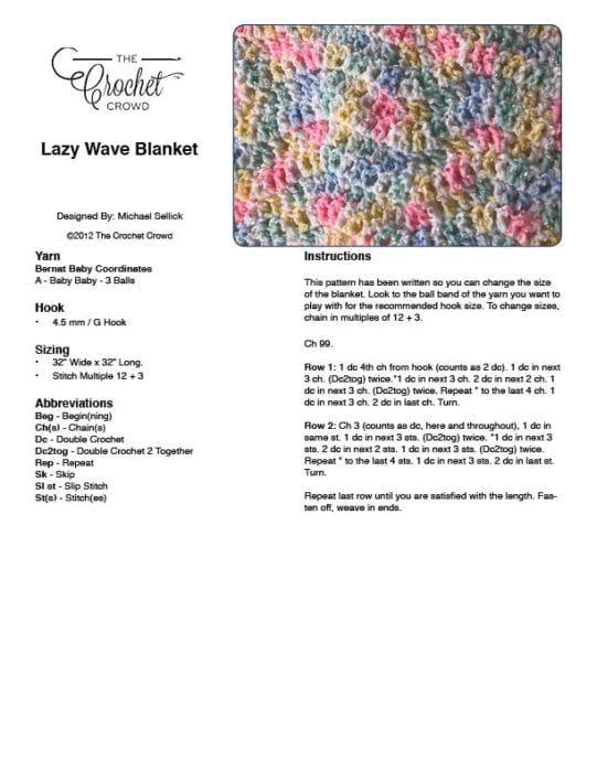 Lazy Wave Blanket Pattern PDF
