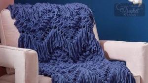 Crochet Bobbles and Fringe Blanket
