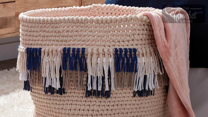 Crochet Fringe Basket Pattern
