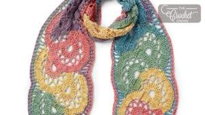 Crochet Calico Flowers Scarf