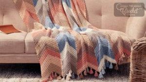 Crochet Chevron Striped Cotton Blanket