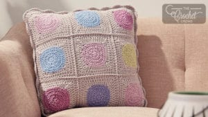 Crochet Circle in the Square Pillow