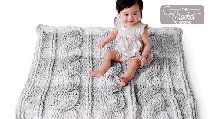 Crochet Big Cables Baby Blanket Pattern