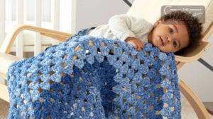 Crochet Dappled Rectangle Granny Blanket