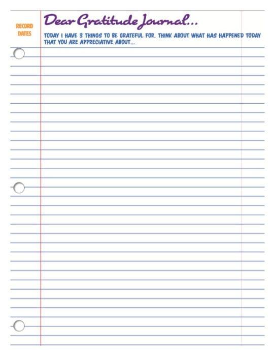 Dear Gratitude Journal Page