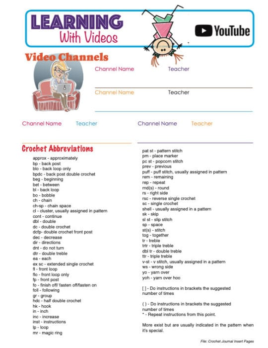 Learning with Tutorials and Crochet Abbreviations Sheet