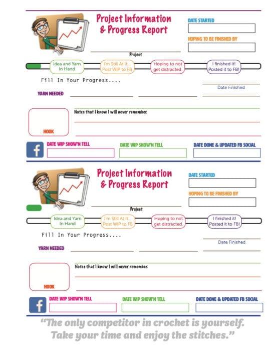 Crochet WIPs Progress Sheet