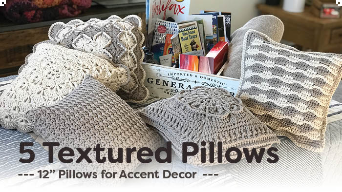 5 Textured Crochet Pillows + Tutorials