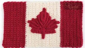 Canadian Flag Crochet Dishcloth