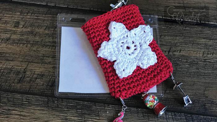 Crochet Star Key Card Holder for Lanyards