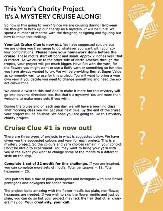 Crochet Cruise Clues Homework Sheet
