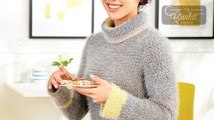 Crochet Cowl Neck Sweater