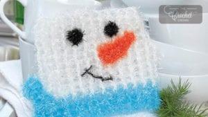 Crochet Snowman Scrubby Dishcloth