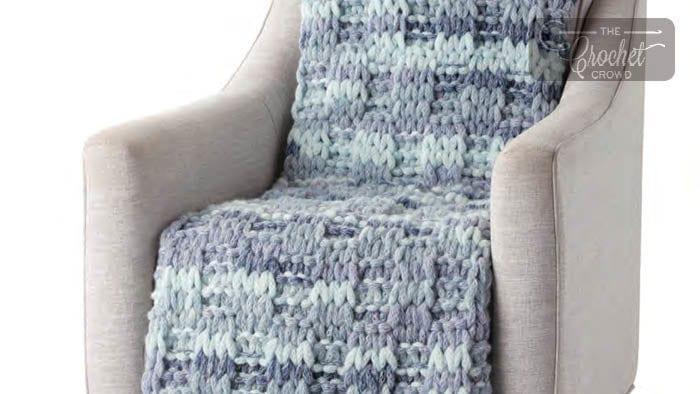 Bernat EZ Wool Knit Box Stitch Blanket