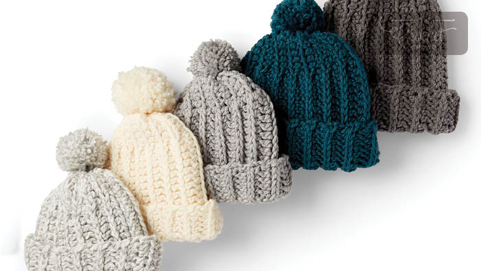Charity Crochet Basic Ribbed Family Hat Pattern