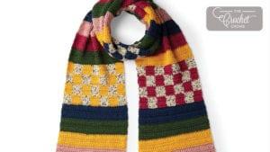 Crochet Checks and Stripes Scarf