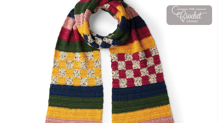 Crochet Stripes And Checks Scarf Pattern