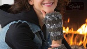 Crochet Striped Fingerless Gloves