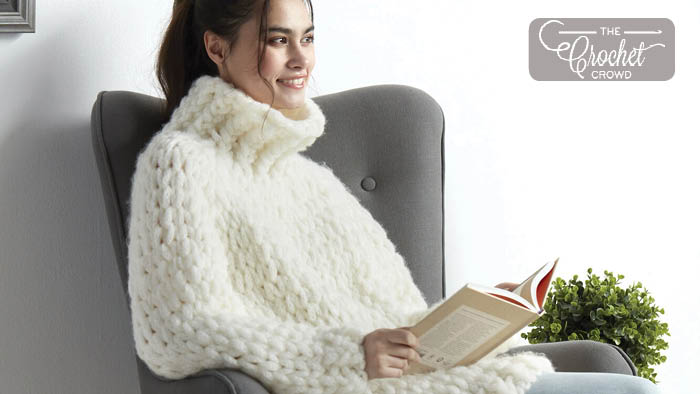 Knit EZ Wool Cozy Cowl Neck Pullover Pattern
