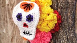 Crochet Sugar Skull Child Headpiece