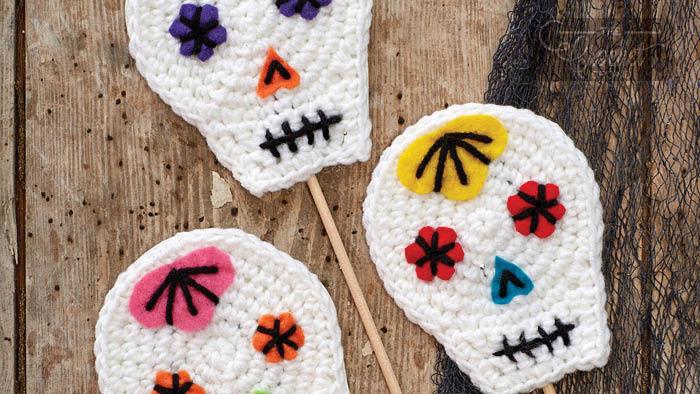 Crochet Sugar Skulls on Sticks