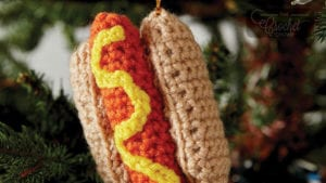 Crochet Hotdog Ornament
