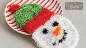 Crochet Scrubby Snowman Dishcloth