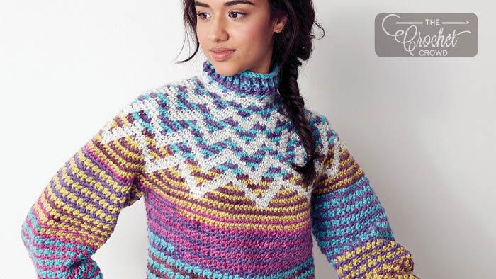 Crochet Zig Zag Yoke Sweater