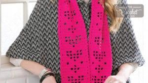 Crochet Valentine Hearts Scarf