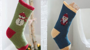 Embroidered Crochet Stocking