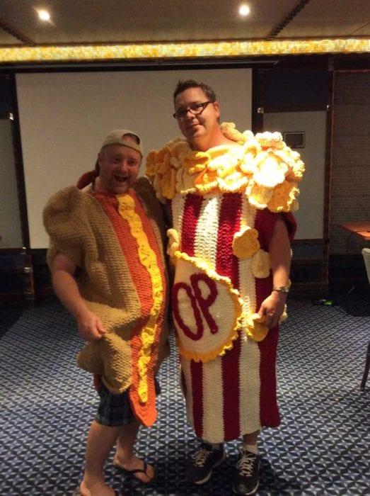Mikey & Diva Dan in Crochet Popcorn and Crochet Hot Dog Snuggle Sacks