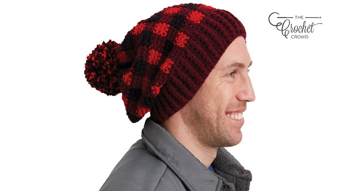 Crochet Adult Buffalo Plaid Hat