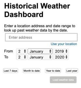 Historical Weather Dashboard