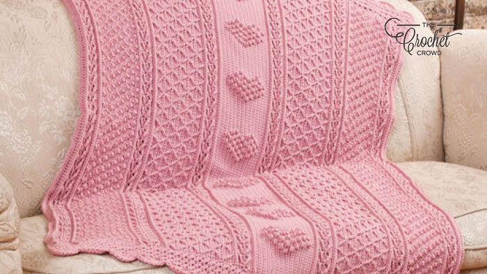 Aran Hearts Throw Blanket