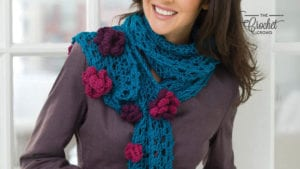 Crochet Hairpin Lace Flower Scarf