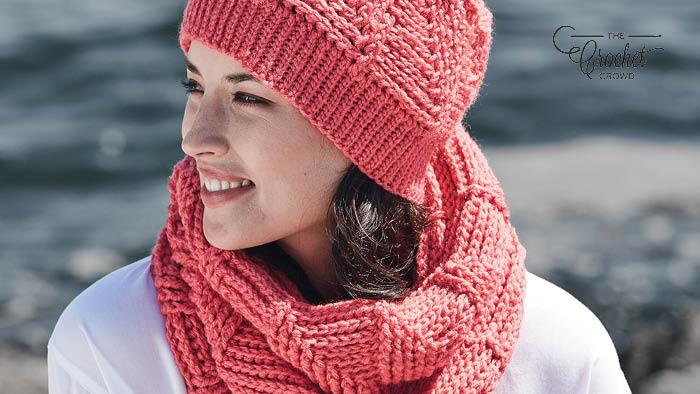 Crochet Ridge Texture Cowl Hat