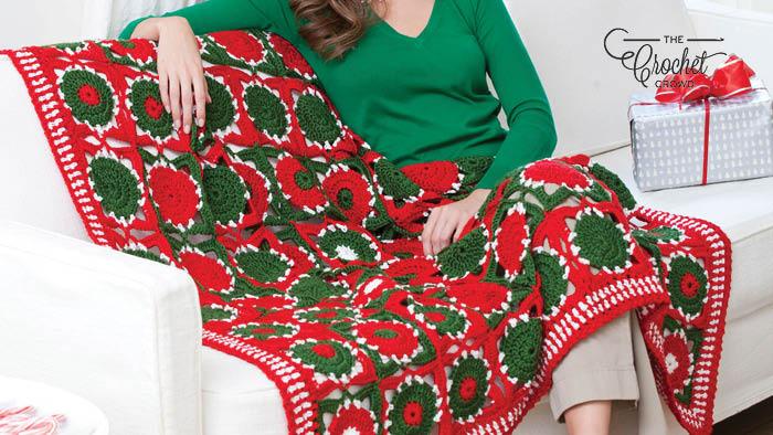 Crochet Holiday Balls Throw Pattern