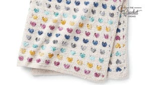 Crochet Heart Stripe Baby Blanket