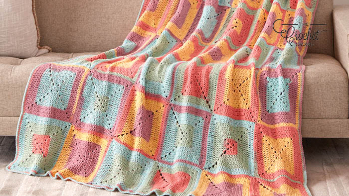 Crochet Colourful Granny Squares Blanket Pattern