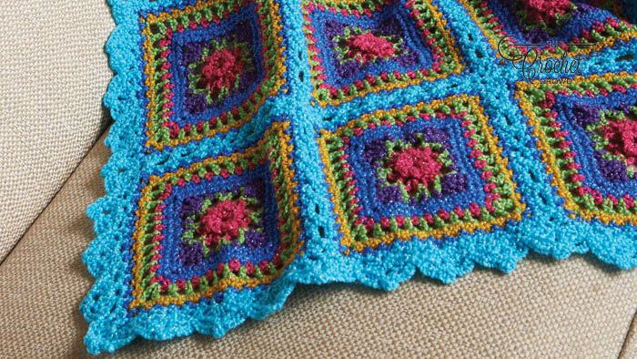 Crochet Festive Squares Throw Pattern