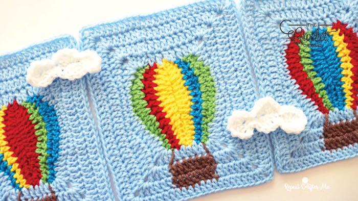 Crochet Hot Air Balloon Granny Blanket Pattern