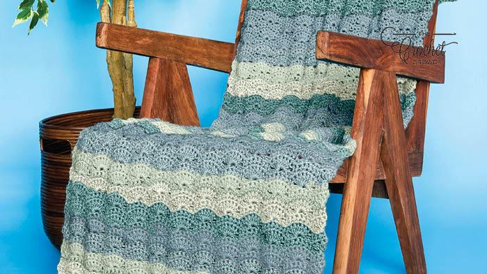 Crochet Blue Wavy Afghan