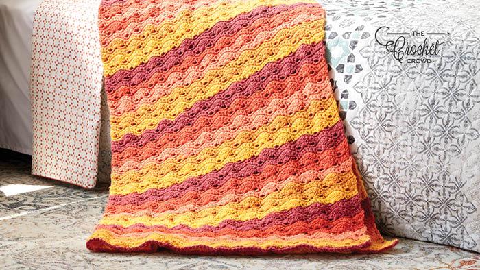Crochet Boho Caron Cakes Stripes Afghan