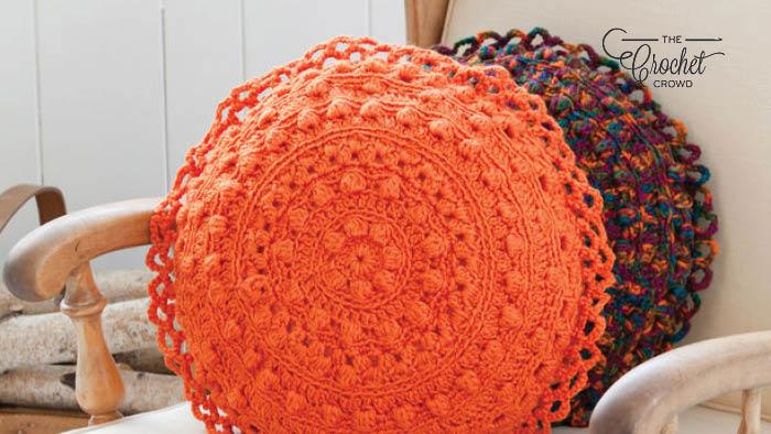 Crochet Puff Stitch Round Pillow Pattern