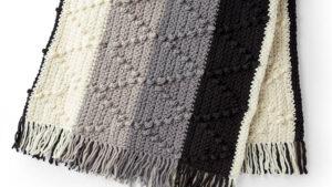 Crochet Chevron Stripe Bobble Blanket