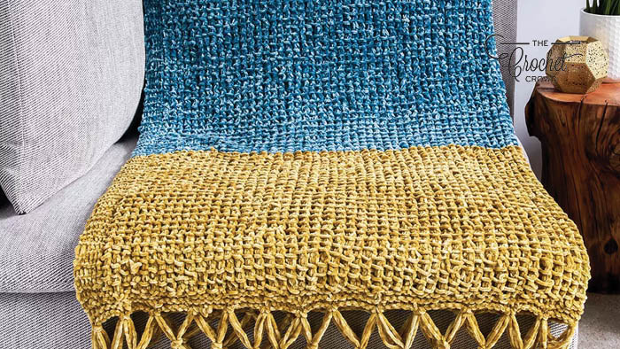Knit Bernat Velvet Simple Texture Blanket