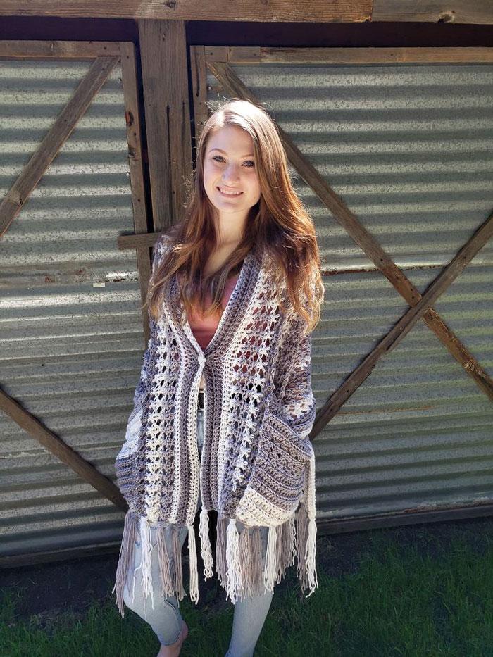 Crochet Perfect-Pockets Shawl crocheted by Mindee Rawson