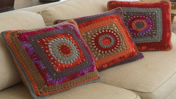 Crochet Circle In A Square Pillow