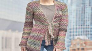 Crochet Lover's Knot Front Tie Jacket