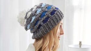 Crochet Striping Shells Hat